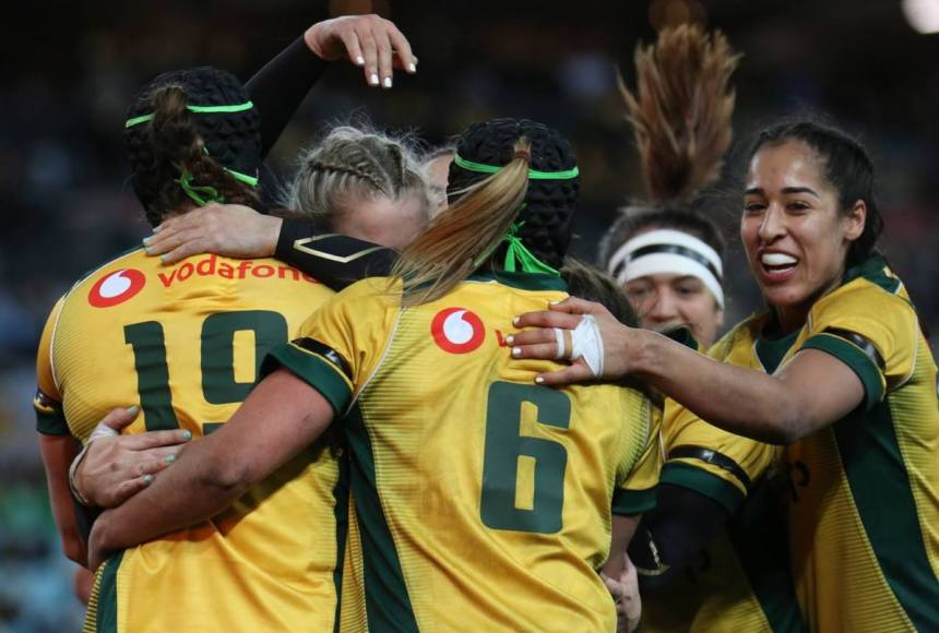 Wallaroos celebrate v Black Ferns_2018_AJF