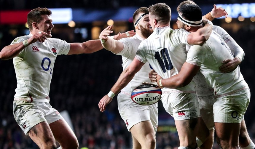 Manu Tuilagi celebrates his try with Henry Slade, George Ford and Luke Cowan-Dickie 7/3/2020