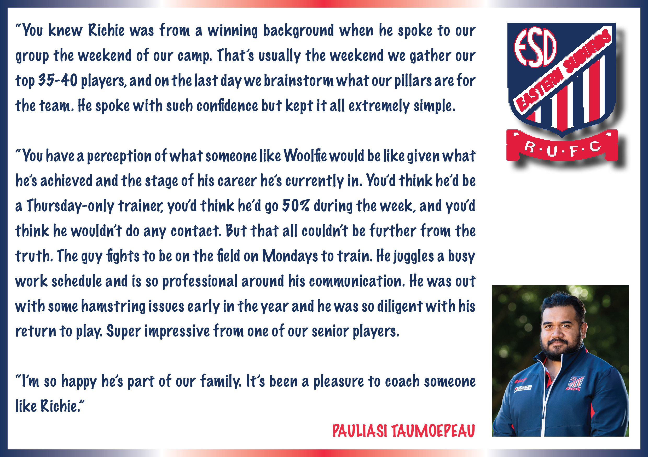 Pauli quote on Richie Woolf